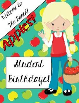 Classroom Management: Birthday Chart (Apple Theme)