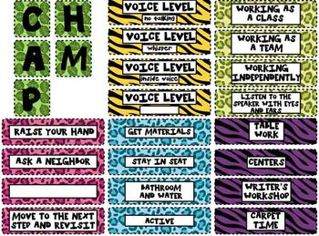 Classroom Management Cards and Posters-Safari/Jungle Theme