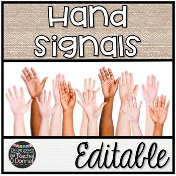 Classroom Management Hand Signals Customizable