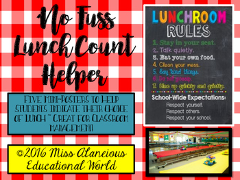 "Classroom Management ~ ""No Fuss"" Lunch Count"