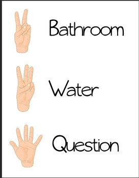 Classroom Management Printable- Hand Signs