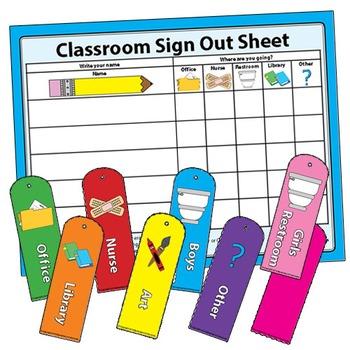 Classroom Management Sign Out Sheet For Restroom Bathroom