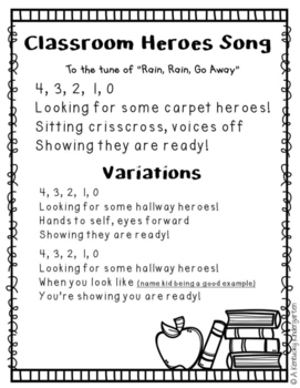 Classroom Management Song FREEBIE
