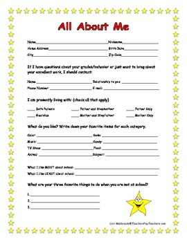 Classroom Management: Student Information Form