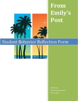 Classroom Management Tool: Behavior Reflection Sheet with