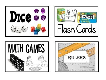 Classroom Materials Labels