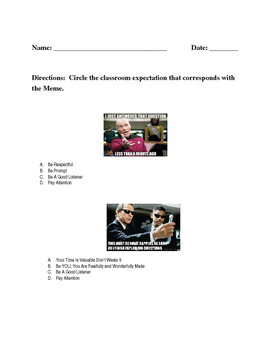 Classroom Memes Expectations Corresponding Questions