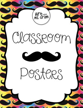 """Classroom Mustache (""""Must Ask"""") Posters"""