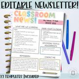 Classroom Newsletter- EDITABLE- Bright Stripes