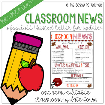 Classroom Newsletter - Football Theme