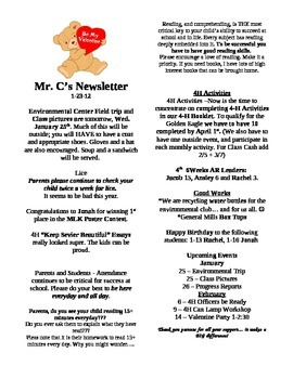 Classroom Newsletter Template - Classroom Management and P