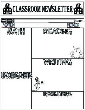 Classroom Newsletter Template - Black & White