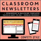 Classroom Newsletters Confetti Style: Editable Templates