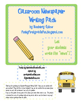 Classroom Newspaper Writing Pack