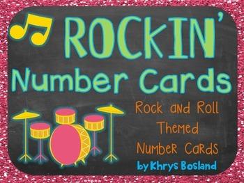 Classroom Number Cards {Rockin' Rockstar Theme} {Wall Card
