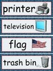 Classroom Object Labels/Signs - Class Setup - Red and Blue