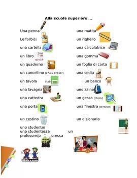 Classroom Objects Italian