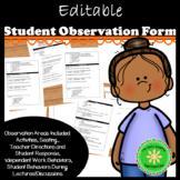Observation Form for Student Behavior