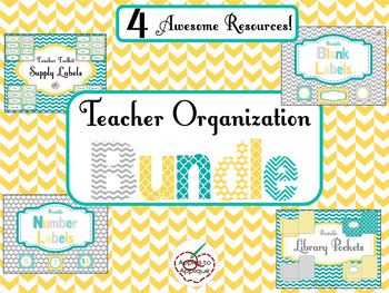 Teacher Organization BUNDLE in Yellow Teal and Gray