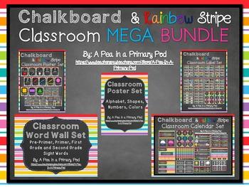 Classroom Organization Bundle (Chalkboard and Rainbow Stripe)