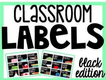 Classroom Organization Labels (black version) {Editable}