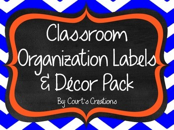 Classroom Organization Labels & Decor Pack-Blue and Orange