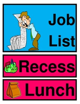 Classroom Organization Posters and Student Job List Cards