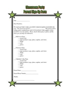 Classroom Party Sign Up Form