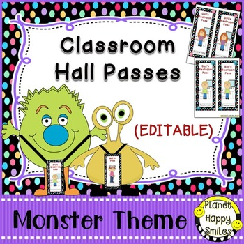 Classroom Passes (EDITABLE) ~ Monsters