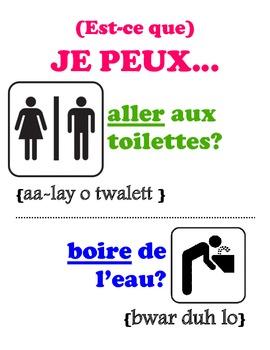 Classroom Phrase Sign: Aller Aux Toilettes