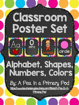 Classroom Poster Set (Chalkboard and Bright Dot): ABC, Num