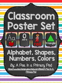Classroom Poster Set (Chalkboard and Rainbow 2): ABC, Numb