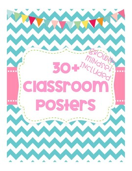 Classroom Posters & Growth Mindset Posters - Chevron Style