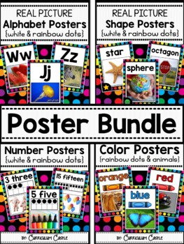 Classroom Posters BUNDLE {White}: Alphabet, 2D&3D Shapes,