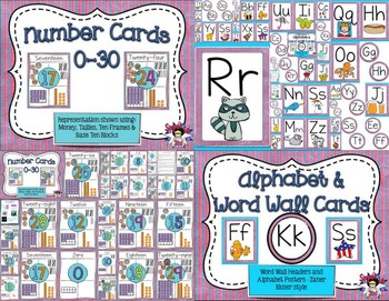 Classroom Posters Bundle- Blue and Pink Dots