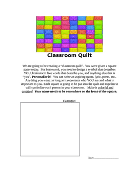 Classroom Quilt / Beginning of Year activities / About me