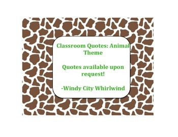 Classroom Quotes Animal Print
