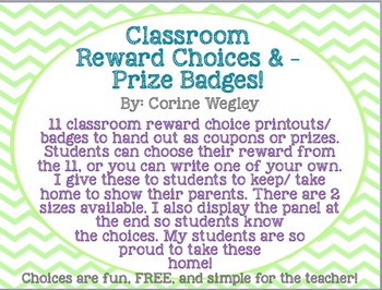 Classroom/Student Reward Choices & Prize Badges