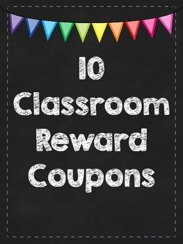 Classroom Reward Coupons - Chalkboard Theme FREEBIE