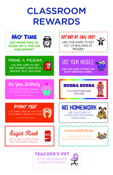 Classroom Reward Coupons and Poster