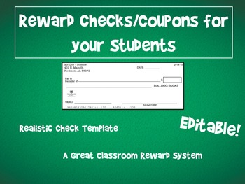 Classroom Reward Template - Realistic Checks for Reward Sy
