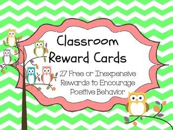 Chevrons and Owls - Classroom Rewards Cards