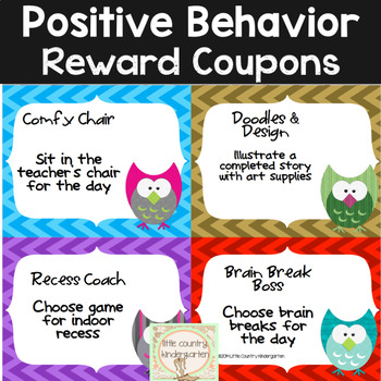 Classroom Rewards: Chevron Owls Themed Positive Incentive Coupons
