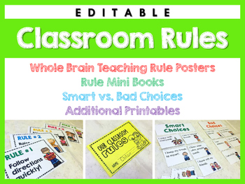 Classroom Rule Posters: Printables and Activities (EDITABLE)