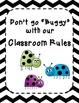Classroom Rules- Black and White Chevron Ladybug Theme