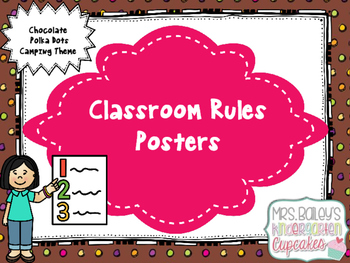 Classroom Rules Camping Theme (Chocolate Polka Dot)