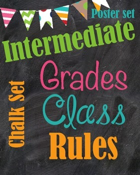 Classroom Rules Chalk Board Poster Set {Intermediate grade