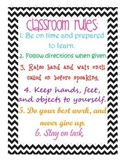 Classroom Rules Colorful Chevron Poster