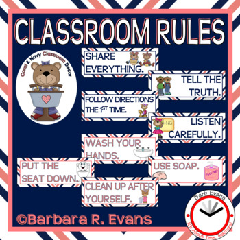 CLASSROOM RULES: Coral & Navy Edition