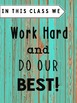 Classroom Rules -Distressed Wood Teal Blue